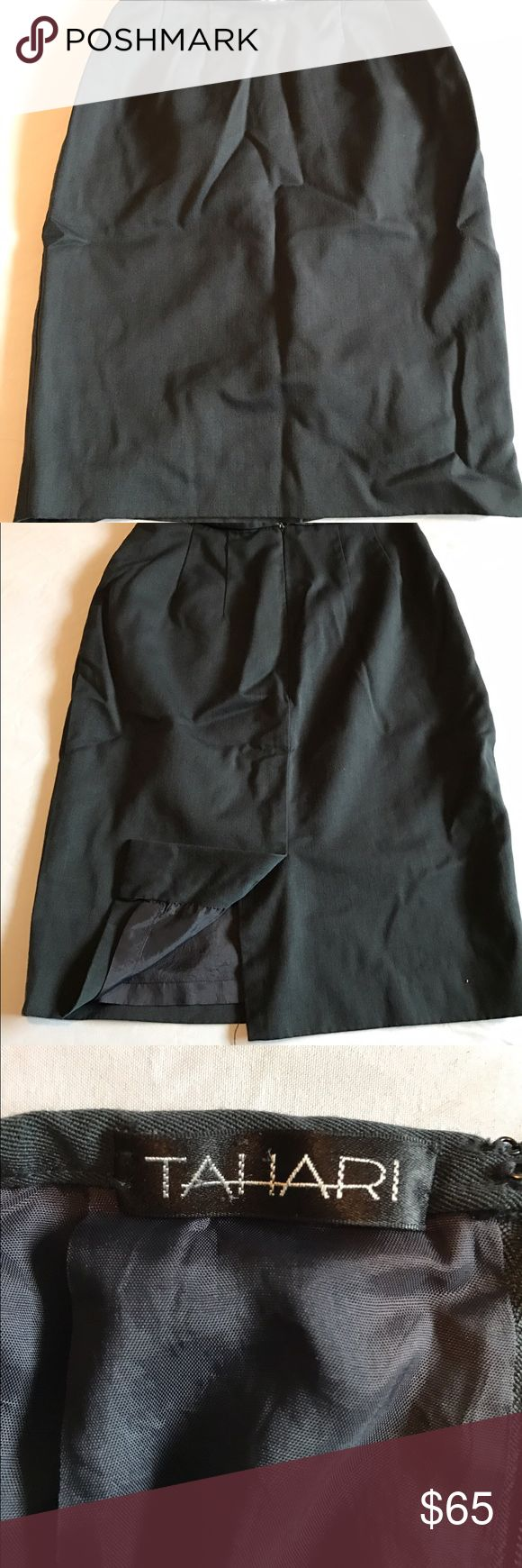 Tahari Pencil Skirt Beautiful navy blue pencil skirt with zipper in back. Fully lined with a small slit. Good condition Tahari Skirts Pencil
