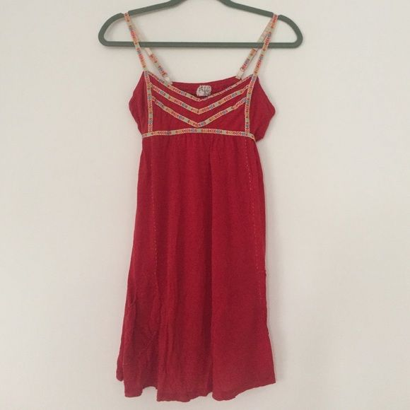 Free People Nightie Free People red nightie with ribbon trim. Free People Intimates & Sleepwear Pajamas