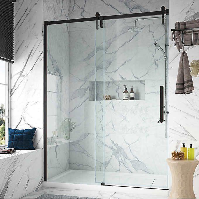 Pin By Connielmann On Bathroom Decor In 2021 Glass Shower Doors Shower Doors Glass Shower