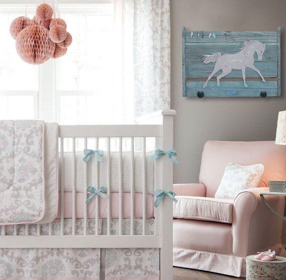 Horse nursery Decor - Girl's room decor- Boy's room decor- Nursery decor- Farm nursery- Farm and Barn decor- Reclaimed wood and Steel