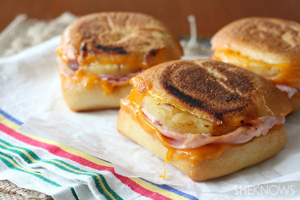 Hawaiian grilled cheese - make these on the mini Hawaiian rolls and serve as an app!