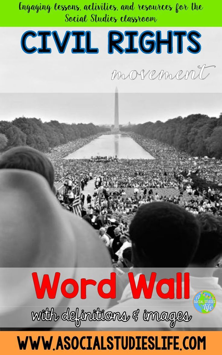 Civil Rights Movement Word Wall - Hang in your classroom or use for Social Studies activities!  50 vocabulary words and terms with photos and definitions.  Great for middle school Social Studies classrooms!