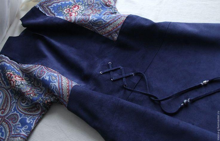 """Купить Платье """"Яшма"""" из синей замши и павловопосадского платка - замшевая юбка, павловопосадский платок"""