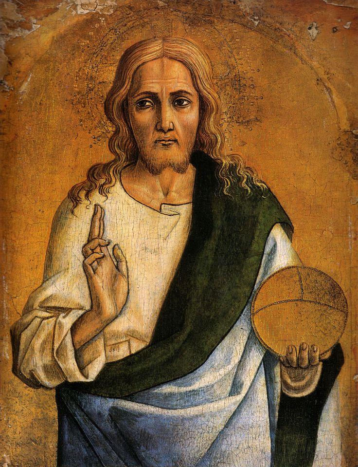 567. Carlo Crivelli - Polittico di Montefiore dell'Aso - Redentore benedicente - 1471 -  Williamstown, Clark Art Institute