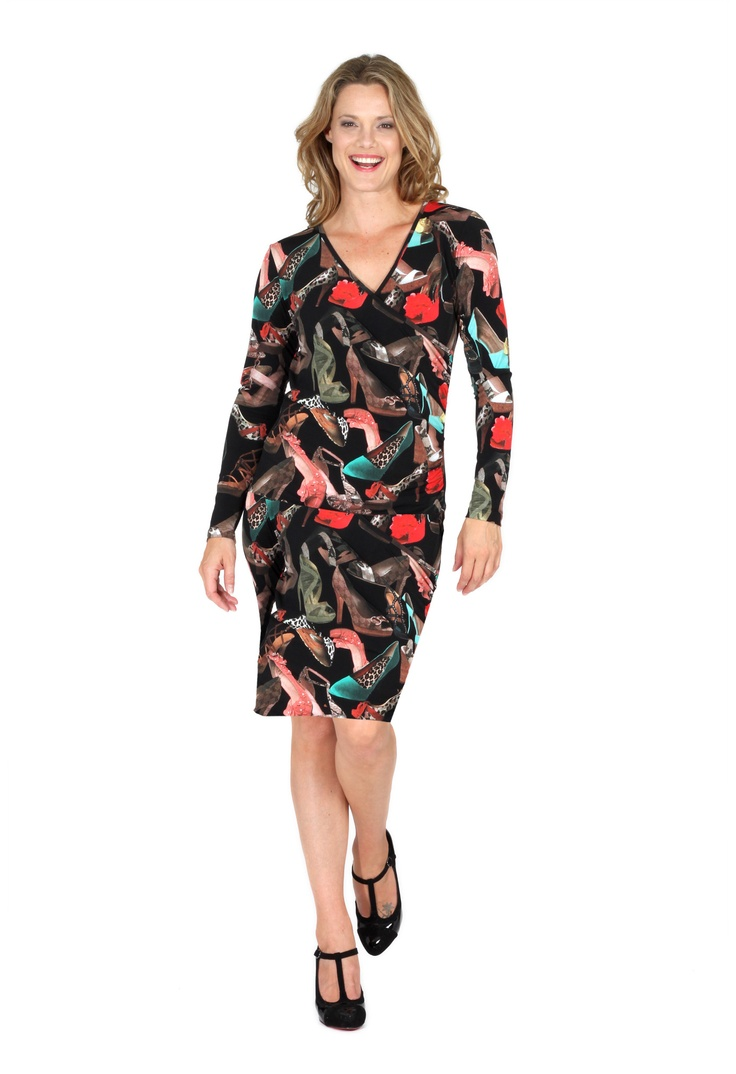 Redhead Office - Shoe Knit Dress. This is the most stunning knit dress in an eye catching shoe print fabric. The Cross Over rouched design is flattering for all figure shapes. This is a comfortable knit dress is ideal for work or anywhere!