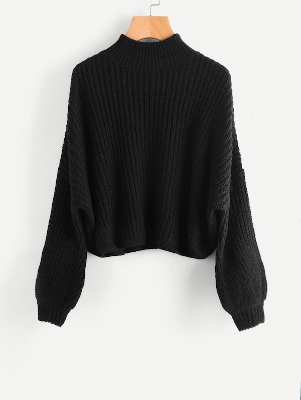 7d08e21d4ba Drop Shoulder Bishop Sleeve Jumper -SheIn(Sheinside)