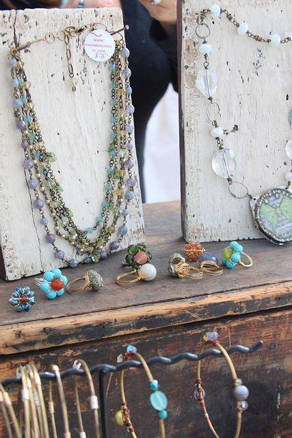 Inexpensive but really cool DIY necklace display. Whitewashed wood and nails. So simple.