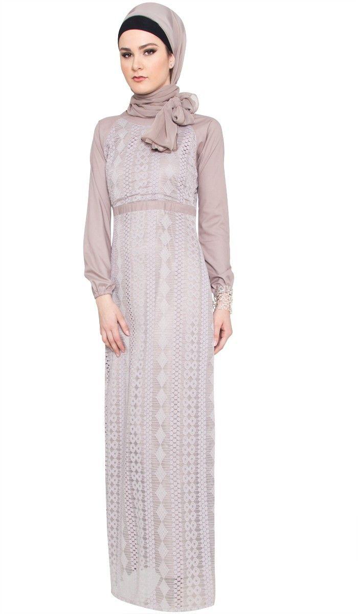 Hiba Lace Accent Maxi Dress with Wrap Scarf - Mocha