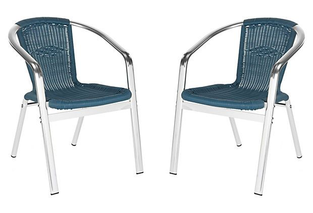 One Kings Lane - Prep Your Patio - Pantheon Stackable Armchairs, Teal