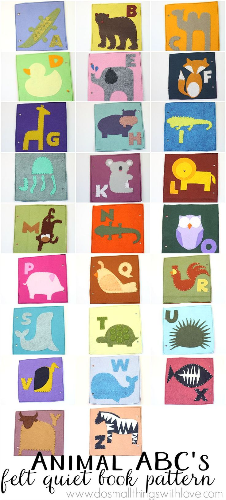 Arabic alphabet for kids with cute animals and fruit for each letter - Animal Themed Felt Quiet Book Pattern Now Available
