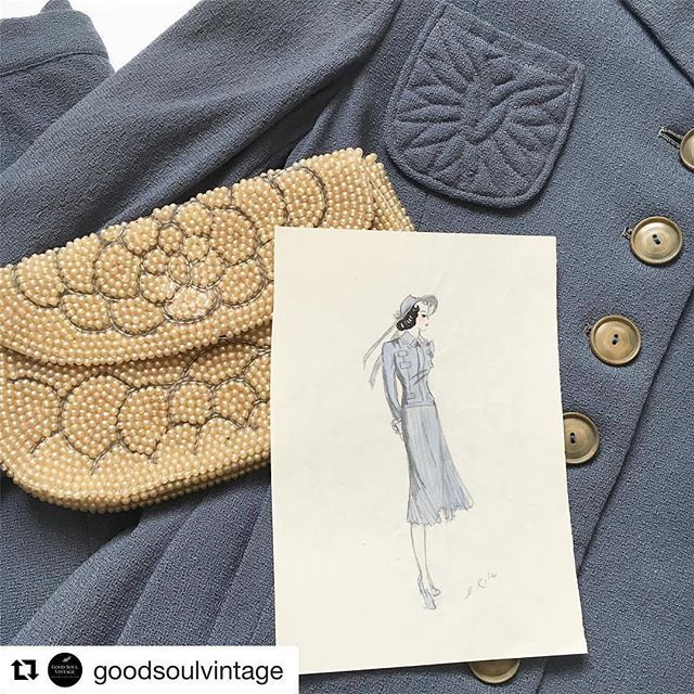 From @goodsoulvintage ・・・ This rich powder blue 40's skirt suit will be available via Instagram tonight at 8pm est. She's an XXS/XS • She has a few flaws but presents herself wonderfully!  I love how this sketch from the late 30's somewhat resembles it. I'll tag everyone again as a reminder. Thanks! Enjoy your Sunday 😘 #1940s #vintageforsale #vintageclothing #forties #vintagefashion