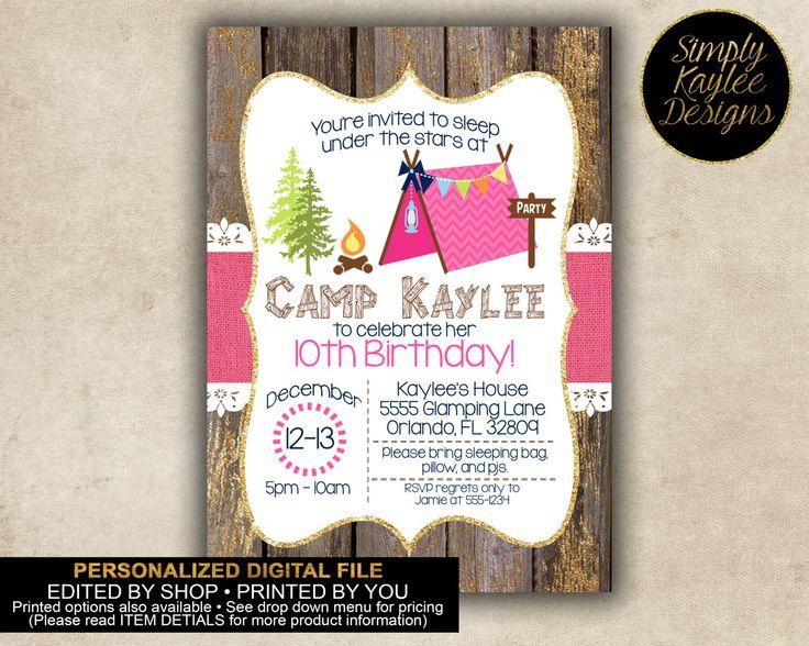 25+ best camping birthday invitations ideas on pinterest | camping, Party invitations