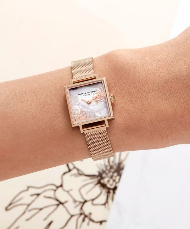 39de7f3dab772 OLIVIA BURTON LONDON Abstract Florals Rose Gold Mesh Watch OB16VM18 – Midi  Dial Square in White Floral and Rose Gold - Other view