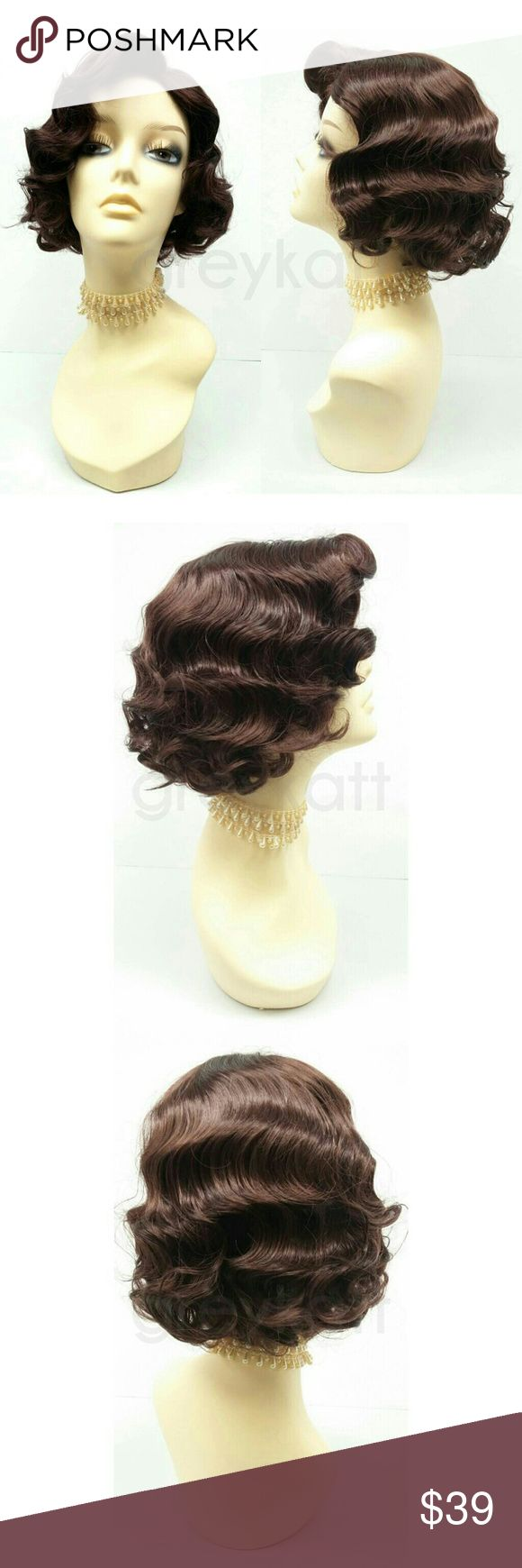 """Dark auburn finger waves Gatsby flapper 1920s wig NOTE: This wig is ready to wear and intended for costume purposes only. Do not brush, comb, shake out, or run fingers through the hair as it will separate the waves.  Retro finger waves and curls in a chic short style. Synthetic. *Not heat resistant, do not use heating tools.  Color: Dark Auburn (33) Circumference: Adjustable 21"""" - 22"""" inches Materials: Synthetic fibers  Wig prices are firm. Accessories Hair Accessories"""