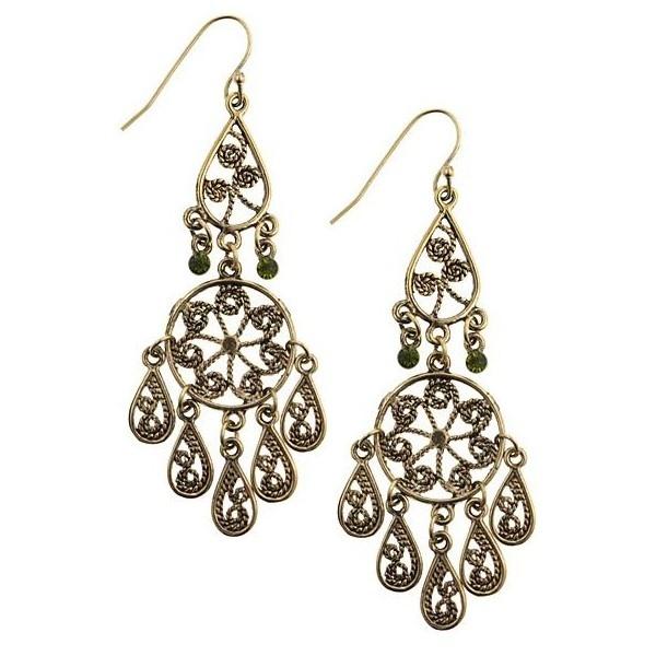 1928 Jewelry Brass Tone Chandelier Earrings found on Polyvore