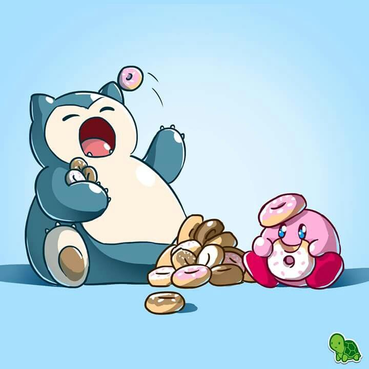 Snorlax & Kirby eating donuts.