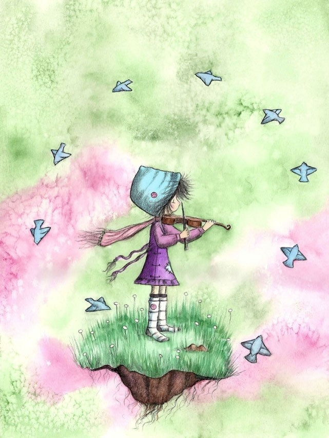 Brunette Girl Playing Violin With Bluebirds - FOR the BLUE BIRDS  - 5x7 Art Print. $12.00, via Etsy.