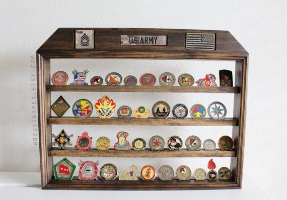 Military Coin Display Nametape Rank Flag Holder Wall Hanging
