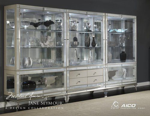 Good Hollywood Swank Pearl Curio With Glass Base By AICO, Mirrored Edges, Led  Lights, Aico Dining Room Furniture