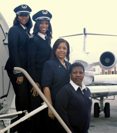 First All Female African-American Flight Crew.    Captain Rachelle Jones, first officer Stephanie Grant and flight attendants Diana Galloway and Robin Rogers made history on February 12th, 2009 when their Atlanta-based Delta Connection carrier departed from Atlanta to Nashville, Tennessee.