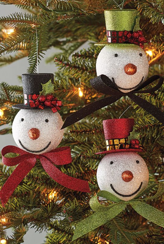 Festoon Your Tree With The Fancy Fellows Who Make Up Our Top Hat Snowmen Ornaments