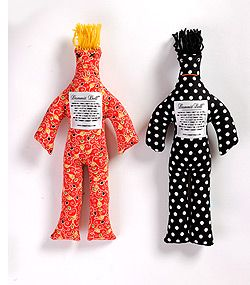"""""""Whenever things don't go so well, and you want to hit the wall and yell, here's a little Dammit Doll that you can't do without. Just grasp it firmly by the legs and find a place to slam it, and as you whack the stuffing out, yell, """"Dammit! Dammit! Dammit!"""""""