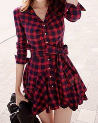 Checked Print Lace-Up Stylish Turn-Down Collar Long Sleeve Women's Dress (RED,L) | Sammydress.com Mobile