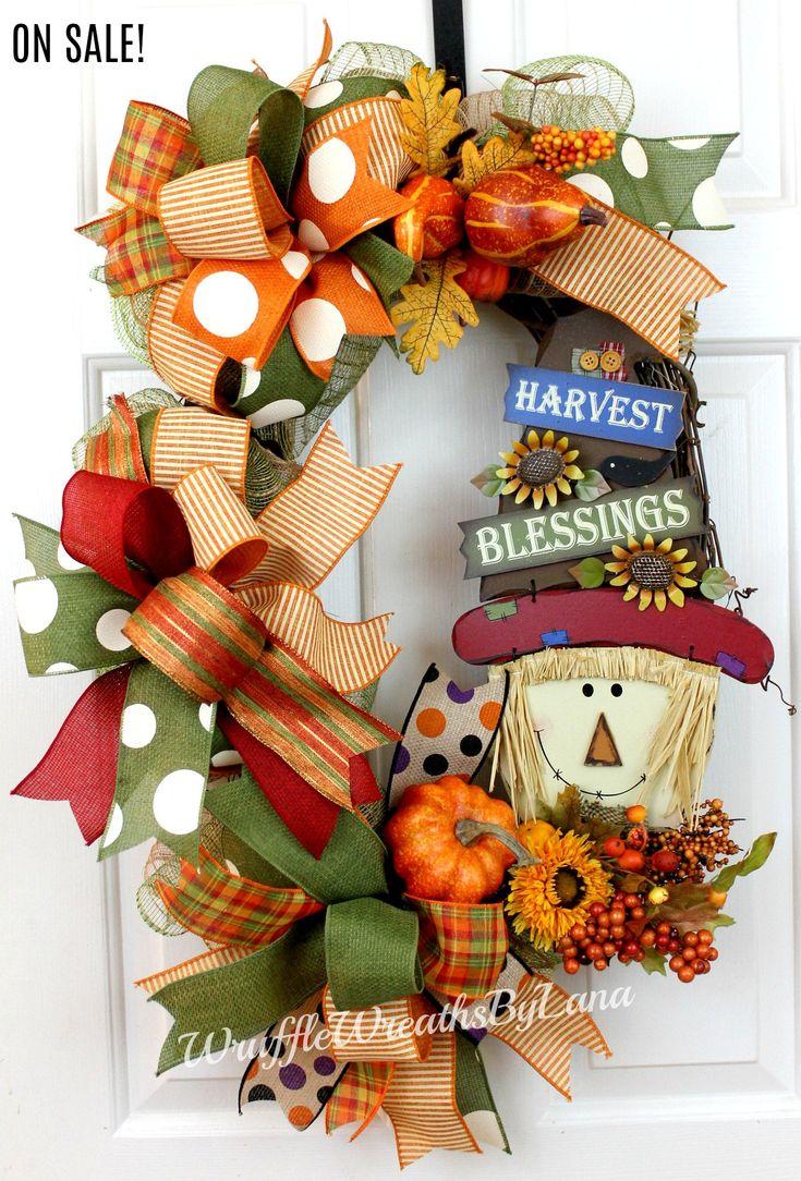 Fall Scarecrow Wreath, Fall Pumpkin Wreath, Fall Grapevine Wreath, Harvest Blessings Wreath, Fall Door Hanging by WruffleWreathsbyLana on Etsy