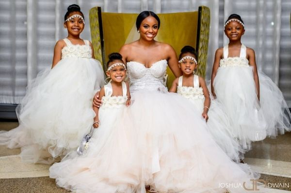 All white flower girls tutu dresses | Joshua Dwain Photography