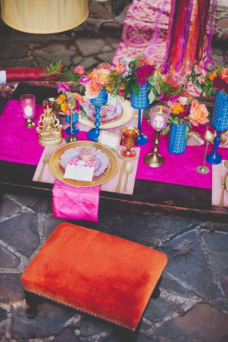 go against the grain with this amazing wedding reception tablescape #weddingideas #uniqueideas #weddingchicks http://www.weddingchicks.com/2014/03/14/east-meets-west-wedding-ideas/