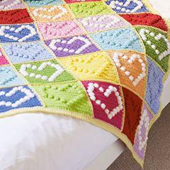 Bobble Heart Blanket - Download this free pattern at allcrochetpatterns.net