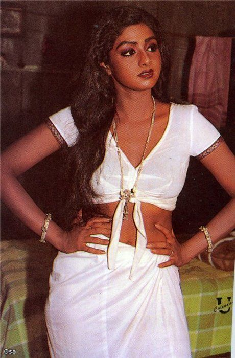 Sridevi Hot and Sexy wallpapers in white color transparent saree