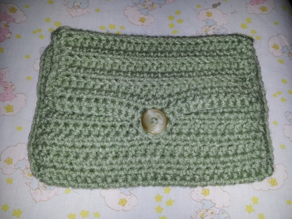 Pistachio Clutch/Large Wallet by MamaKatCrochet on Etsy, $10.00