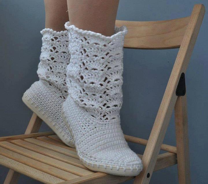 Botas tejidas con gancho (imagen de internet) | botas | Pinterest ...