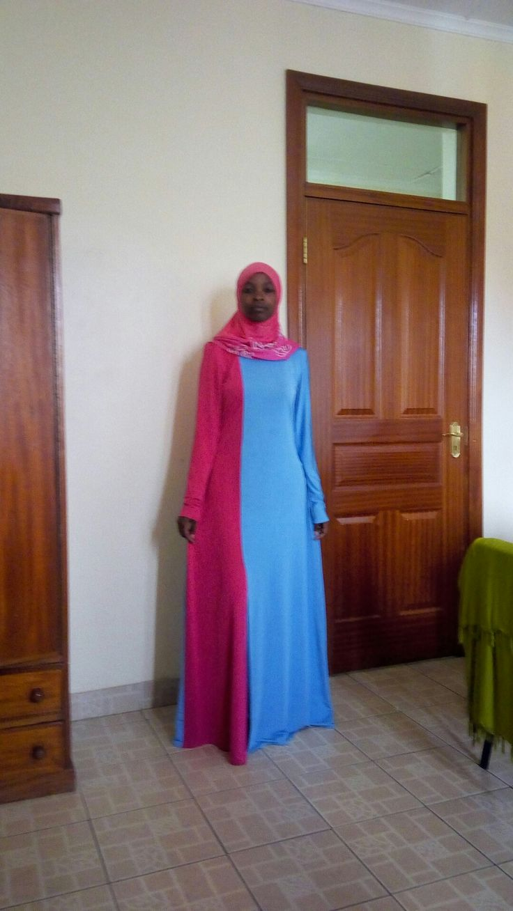 Blue and pink hijab...