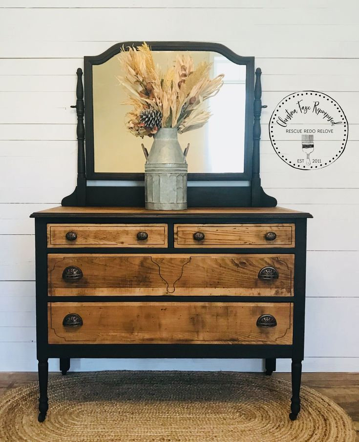 Antique Dresser Makeover! Also see how I removed yucky veneer on the blog :)  – Haus