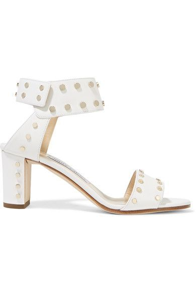 Jimmy Choo - Veto Studded Leather Sandals - White - IT39.5