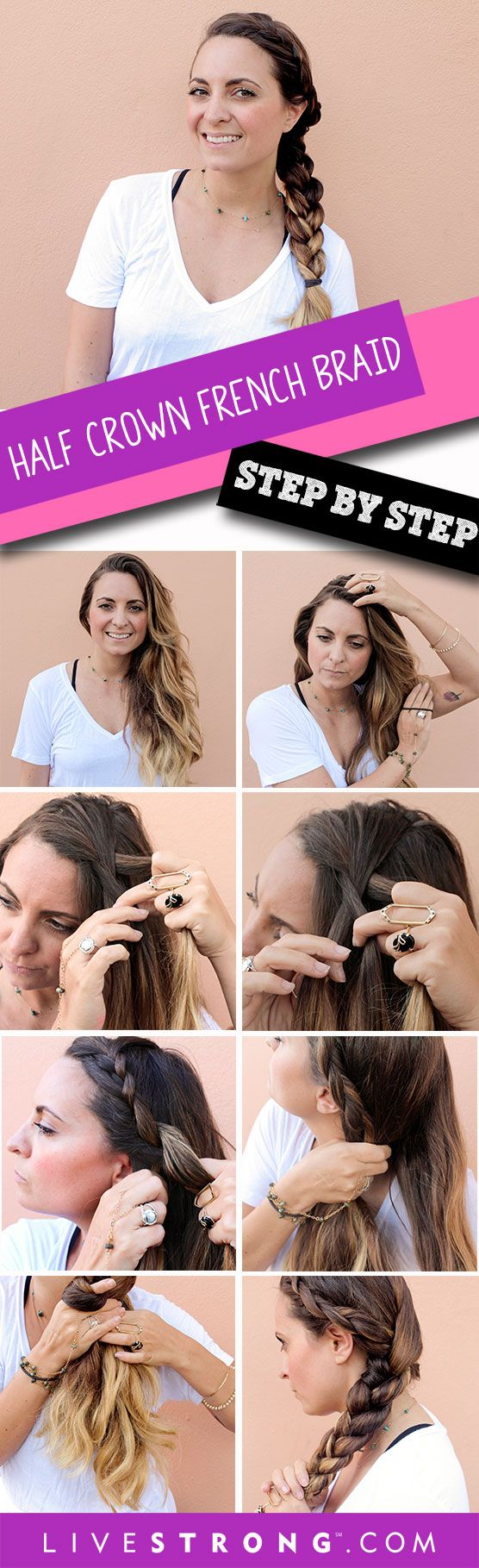 "When you�re working out, there's nothing more annoying than having to stop mid-set to fix your hair. Here's how to style your hair in a half crown french braid to avoid the mid-workout pause to ""fix your hair."""