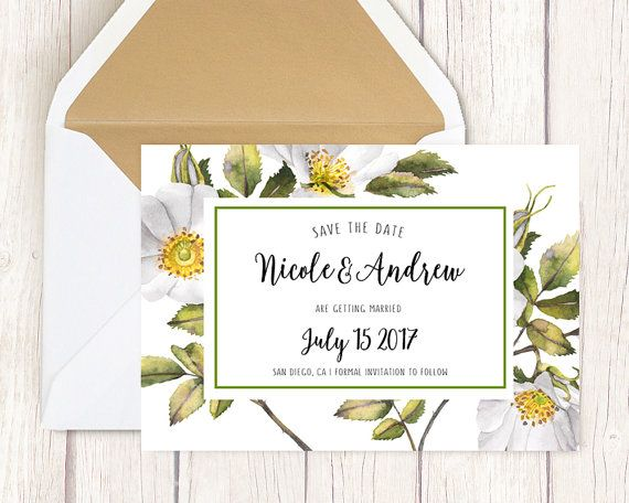 Wedding announcement, Custom template, Personalized, SAVE THE DATE, Watercolor spring flowers, White blossom, Save the date elegant, Wedding