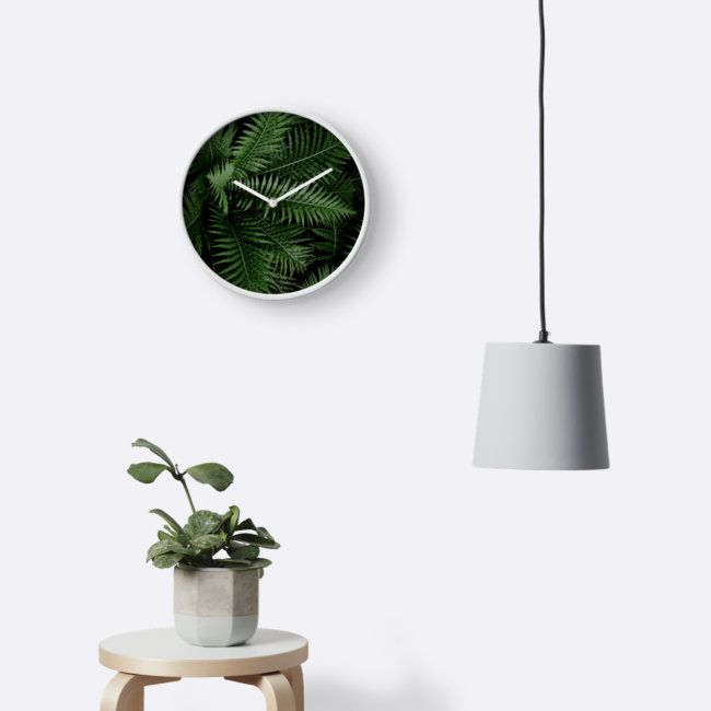 Tropical Leaves 02 by VanGalt  #tropical #leaves #forest #palmleaves #nature #jungle #droplets #clock #wallclock