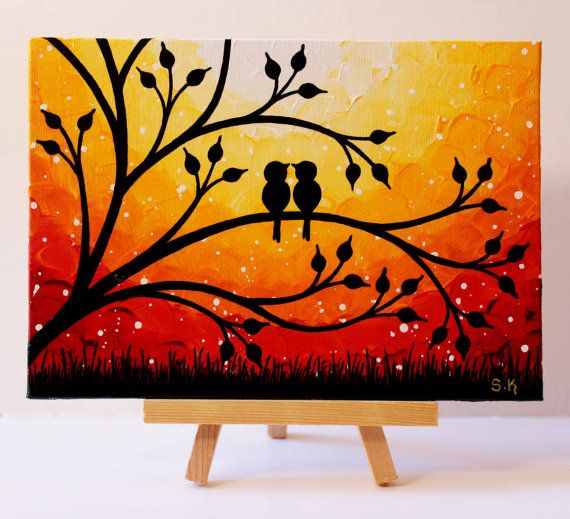 Sunset Painting Love Birds Artwork Original Mini Painting