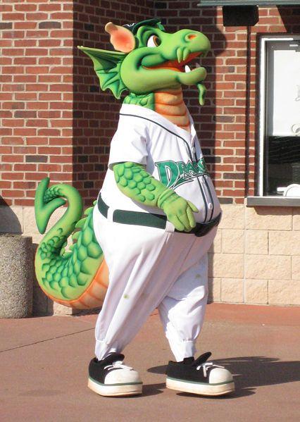 "Dayton Dragons minor league baseball team mascot ""Heater"". I love that dragon!"