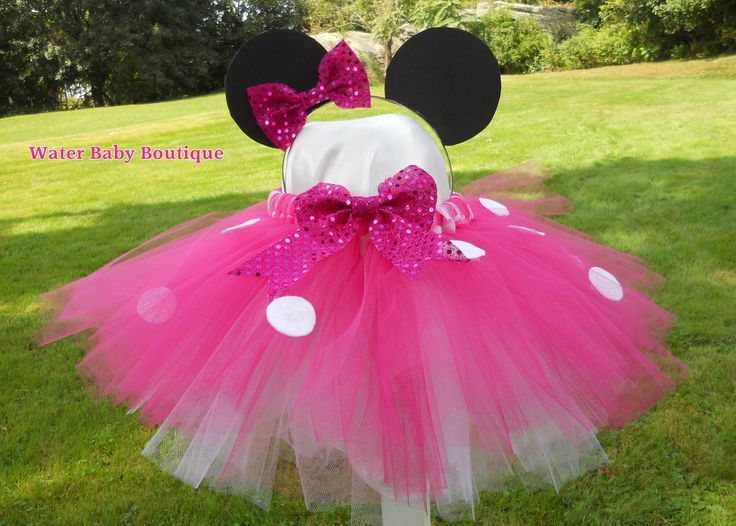 Minnie Mouse Tutu - Pink, White Tutu for Baby, Toddler, Girl includes Mouse ears headband (size NB-4T). $37.00, via Etsy.