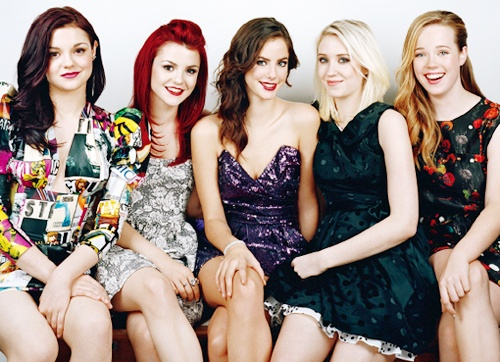 Megan Prescott, Kathryn Prescott, Kaya Scoledario, Lily Loveless, and Lisa Blackwell