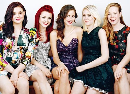 Megan Prescott, Kathryn Prescott, Kaya Scoledario, Lily Loveless, and Lisa Blackwell