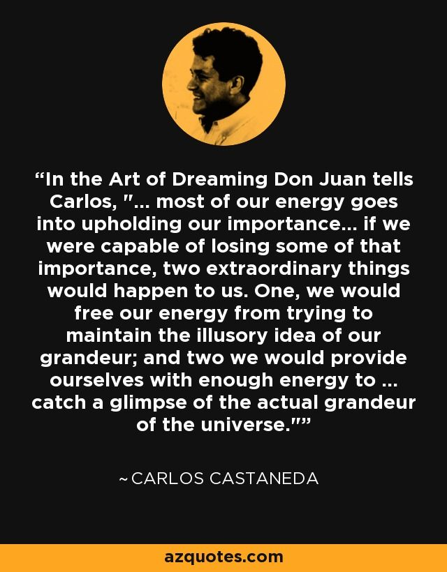 Carlos Castaneda Quote Self Importance Energy Universe Dreaming Carlos Castaneda Quotes Carlos Castaneda Words