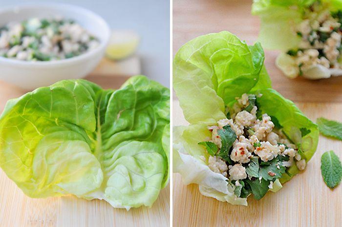 rachelcooksthai | Larb Lettuce Cups | ลาบไก่ห่อผักสลัด
