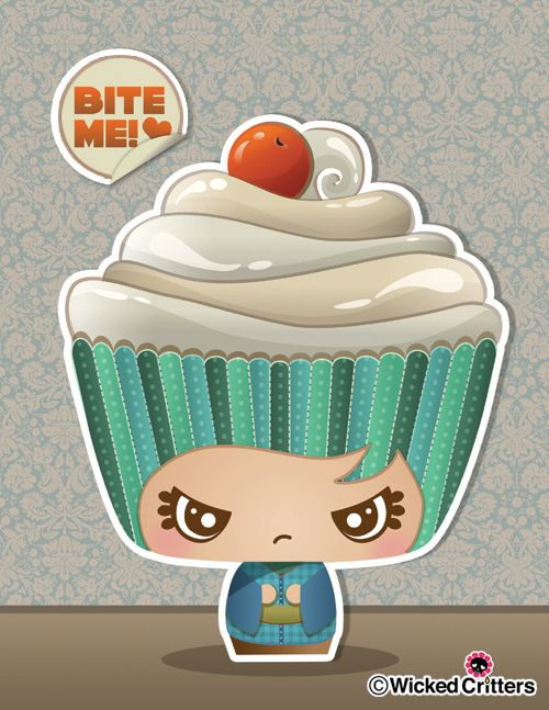 This sweet kokeshi cupcake is not very happy…be careful if you want to give it a try :): Cake Recipe, Character Cupcakes, Tea Party Cupcakes, Cake Photos, Cupcake Art, Kawaii Cupcakes, Yummy Cake, Kokeshi Doll