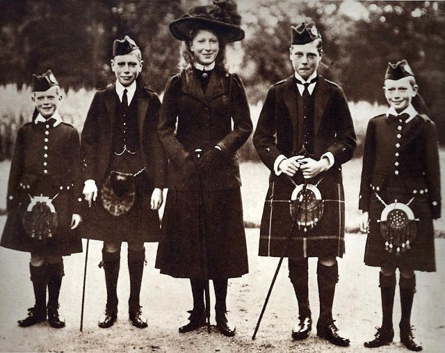 The Children of King George V and Queen Mary - At Balmoral: Prince George (Duke of Kent), Prince Albert (King George VI), Princess Mary (The Princess Royal), Prince Edward (Duke of Windsor), and Prince Henry (Duke of Gloucester). Absent Prince John, youngest son, who died in 1919.