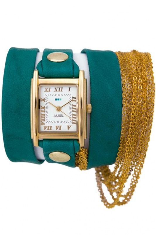 LMMULTICW1021TEAL - La Mer Collection Rio Gold Teal dames horloge